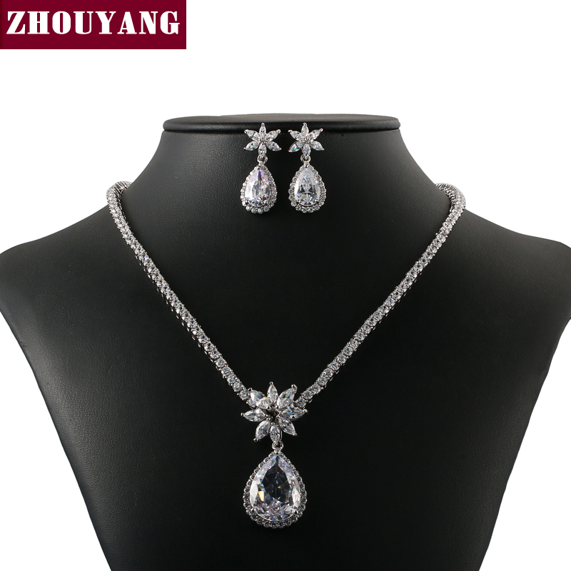 Luxurious Wedding Silver Color Jewelry Necklace Earrings Set Rhinestone Made with Austrian Crystals ZYS302 чехол для для мобильных телефонов sc co iphone 4 4s 5 5s 6 6 for iphone 4 4s 5 5s 6 6 plus page 8
