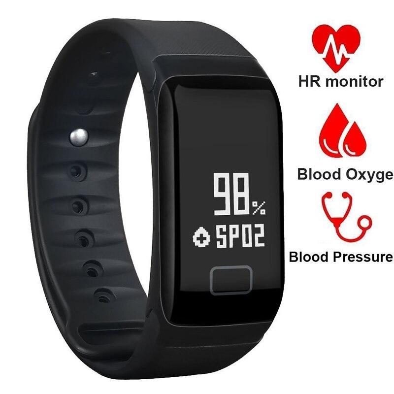 Pulseras inteligentes F1 Monitor de presión arterial Fitness pulsera actividad Tracker Smart Band Smartband podómetro pulsera reloj inteligente