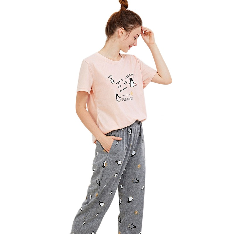 150b673150e Dotfashion Penguin Letter Print Pajama Set Women Autumn Clothing 2019 Casual  Summer Short Sleeve Nightwear Cartoon
