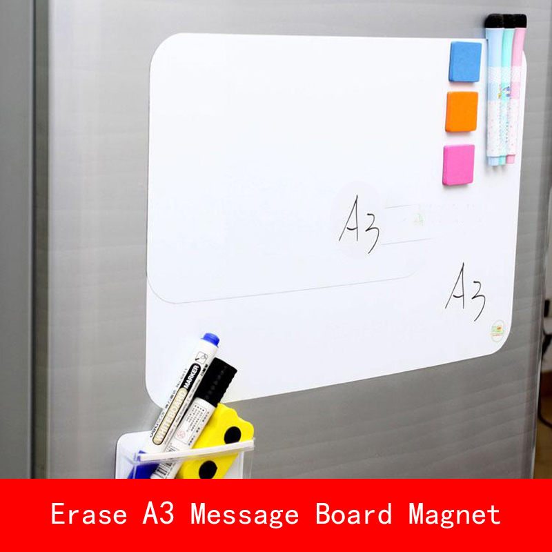 Certification SGS A3 29*30cm Soft Fridge Magnets Flexible Mini Whiteboard PET Film Message Board Magnetic Notes with pen Eraser greeting word style fridge magnets 4 pack