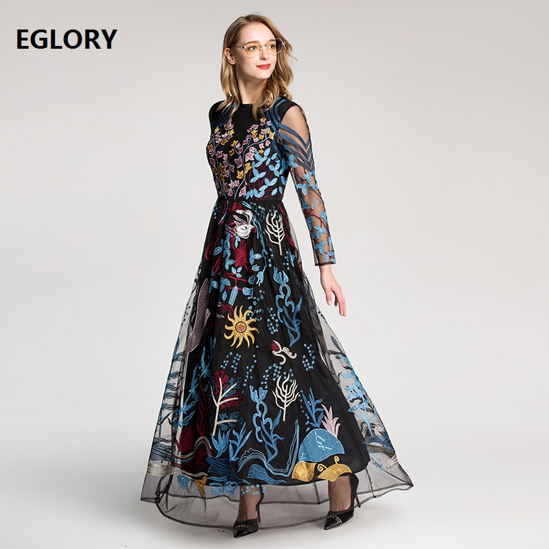 Women Party Evening Long Dresses 2018 Vestidos Feminino Lurex Embroidery Long Sleeve Long Maxi Dress Special Occasions XXL