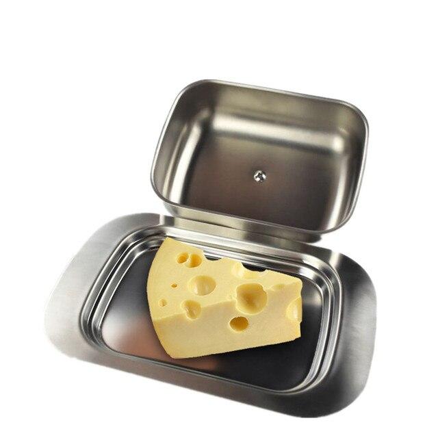 1 pc Caixa Prato de Manteiga de Aço Inoxidável Recipiente de Armazenamento Keeper Queijo Servidor Bandeja com Tampa Hold Queijo Prato de Salada de Frutas