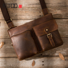 AETOO Handmade Retro Mens Bags Crazy Horse Leather Shoulder Messenger Bag Skew Tendency Simple Backpack Genuine B