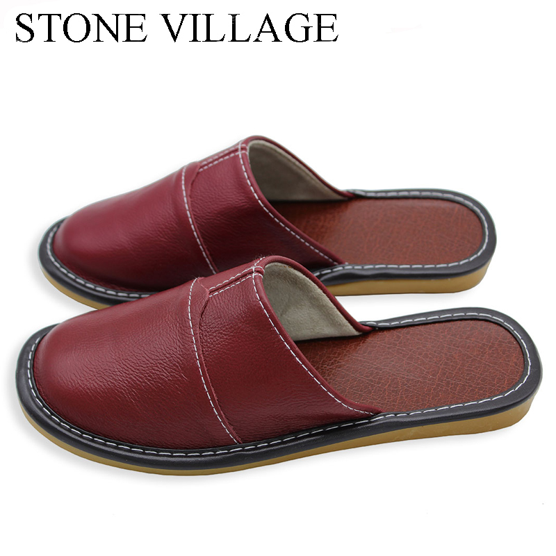 Plus Size 35-44 Genuine Leather Women Men Slippers Summer Home Slippers High Quality  Women Men Shoes Non-Slip Home Floor Shoes 3