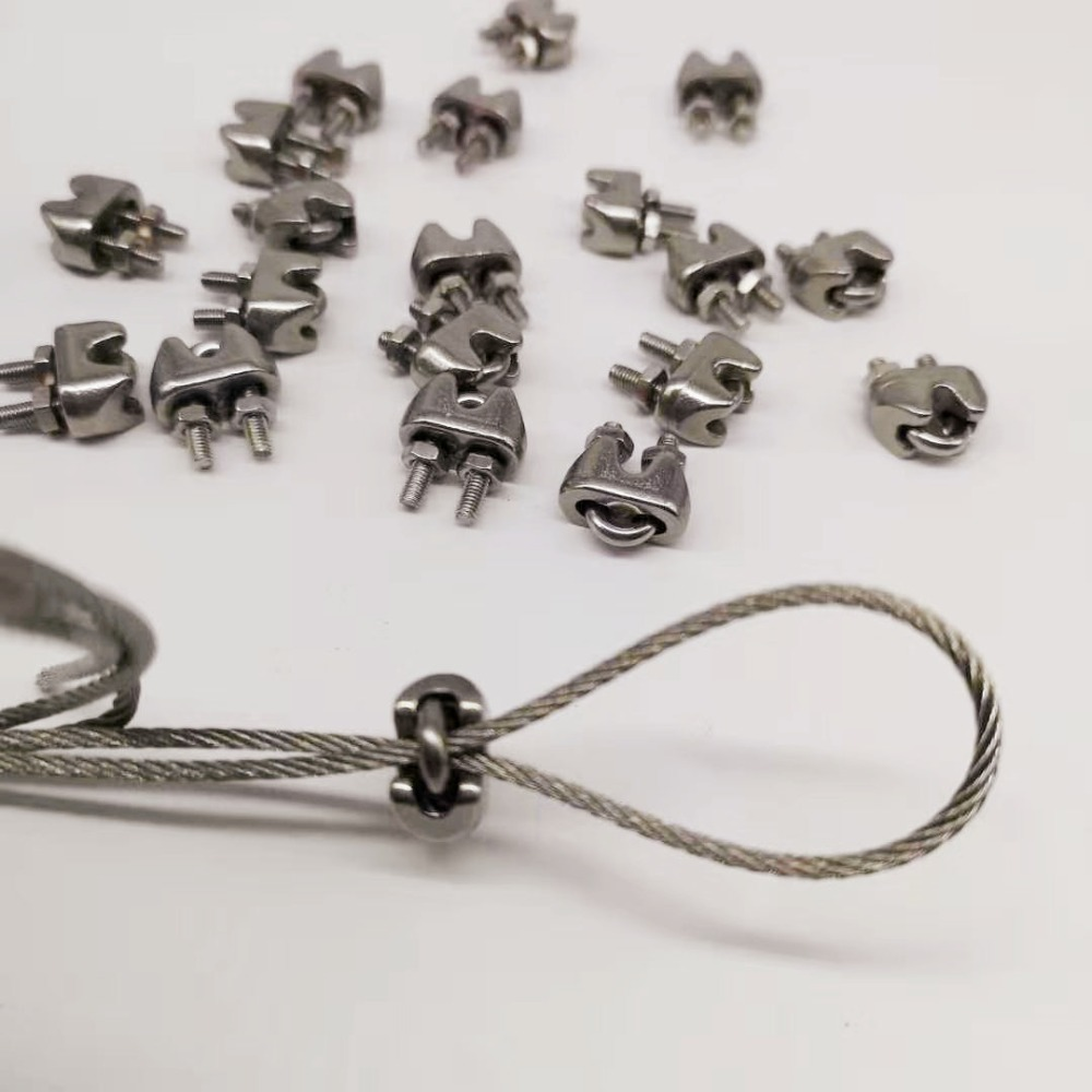 10pcs M8 Clip For Wire Rope Type 304 Stainless Steel