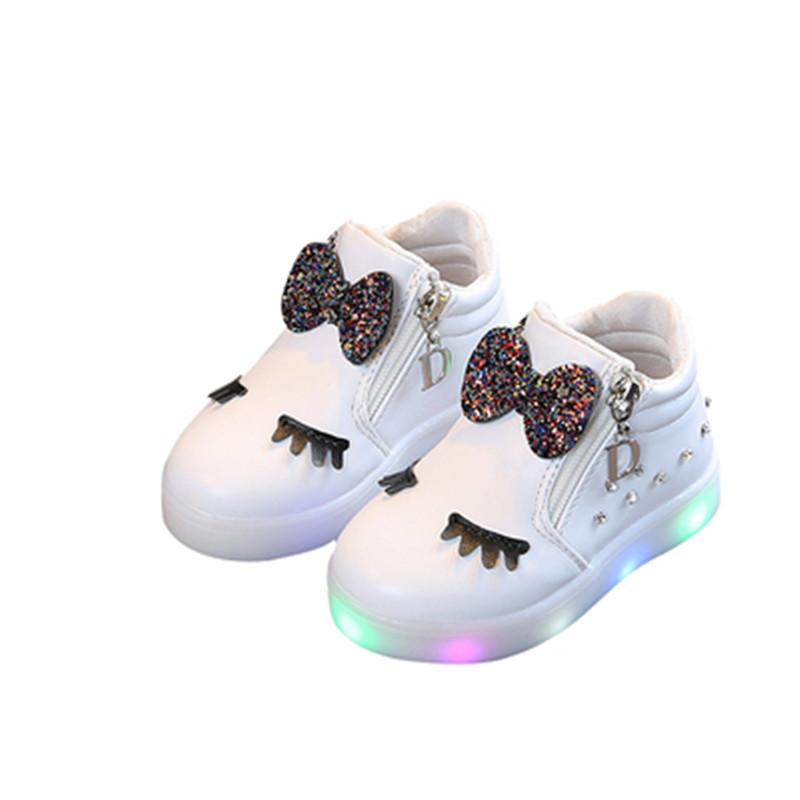 Xinfstreet Children Shoes With Light Up Baby Kids Girls Luminous Sneakers Flashing Glowing Shoes Winter Size 21-30