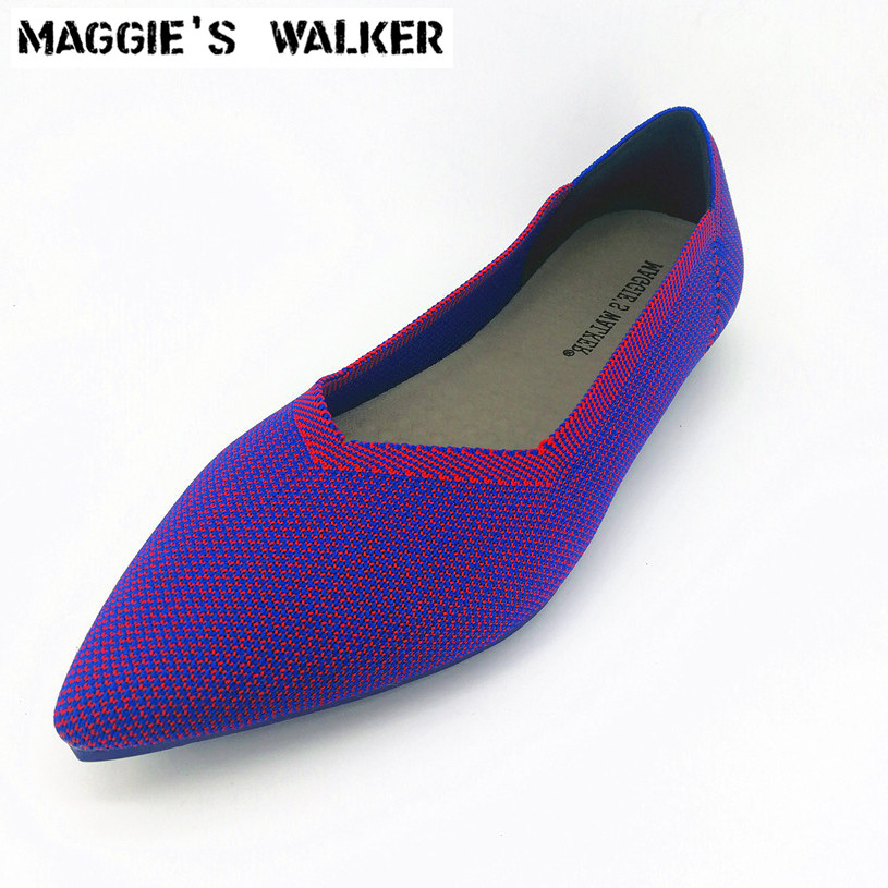 Maggie's Walker Women Fashion Pointed-toe Knitted Casual Shoes Candy-colored Shallow-mouth Casual Flats Size 35~40