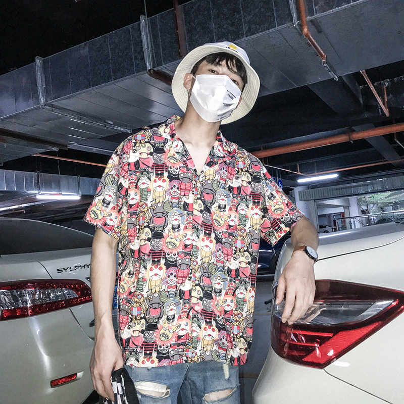 Cartoon Full Printed Hawaii Style Men 39 s Shirt 2018 Summer Hip hop Shirt Men Short Sleeved Casual Shirt in Casual Shirts from Men 39 s Clothing