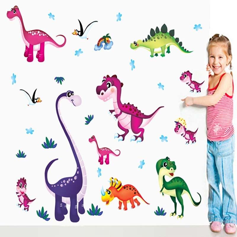 2016 Children Cartoon Room Wall Decorative Sofa TV Setting Wall Stickers Paper <font><b>Dinosaurs</b></font>