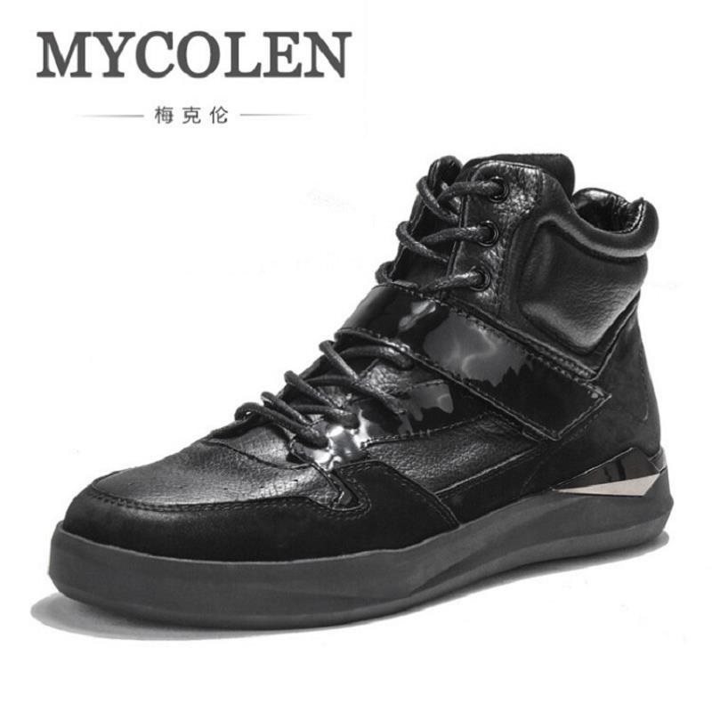 MYCOLEN New High Top Winter Casual Men Shoes Lace-up Breathable Men Shoes Genuine Leather Black Flat Shoes Zapatillas Hombre pathfinder men s vulcanize shoes men leather high style casual retro comfortable flat shoes breathable male calzado hombre