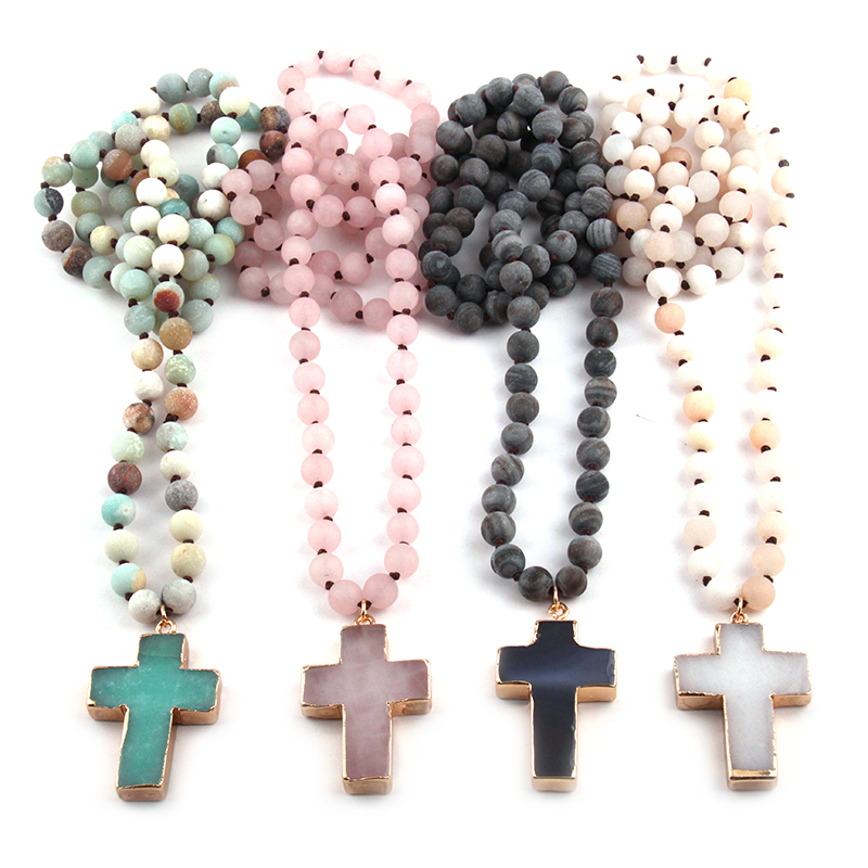 Fashion Bohemian Tribal Jewelry 8mm Natural Stones Knotted Stone Cross Pendant Necklaces Women Ethnic Necklace