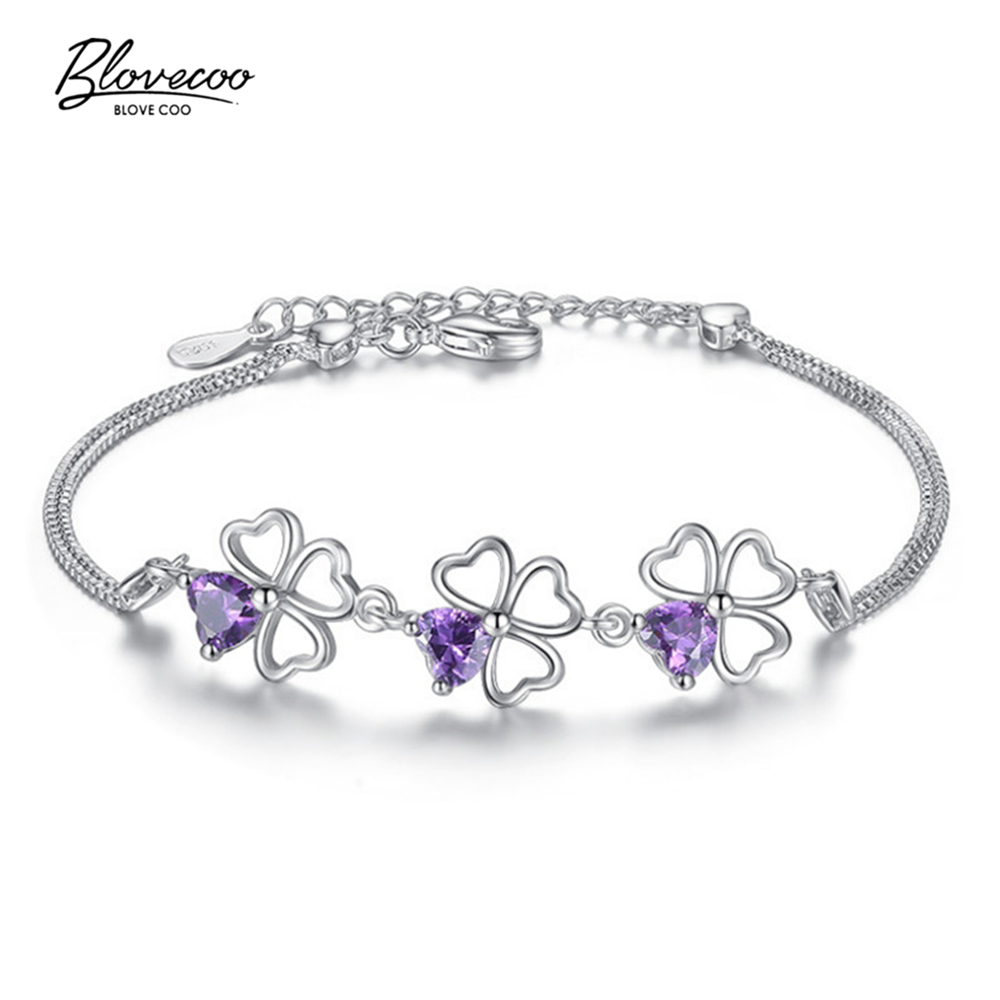 bracelet and lucky link lovely brand fashion chain luxury silver female bracelets simple girls crystal grass item in purple jewelry