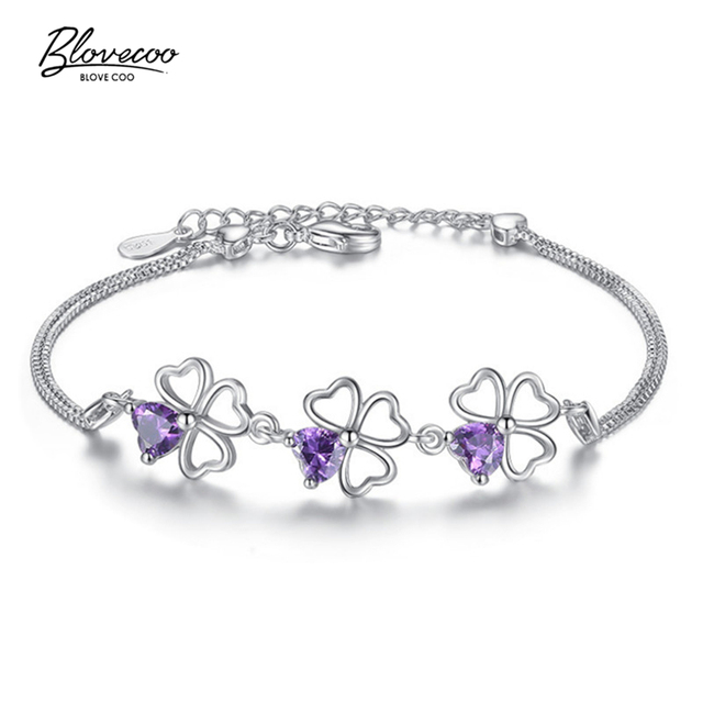 Fashion Brand Silver Jewelry Lucky Grass Bracelet Purple Luxury