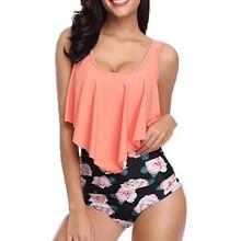 Bikini 2019 Women Two Piece Plus Size Sexy Backless Halter Floral Printed Swimwear Set Patchwork Beachwear Pluz Size biquini #38