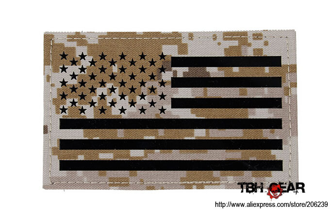 TMC Large 12.7x7.9cm Military US Flag Patches Infrared Patch In AOR1 Or AOR2+Free Shipping(SKU12050465)