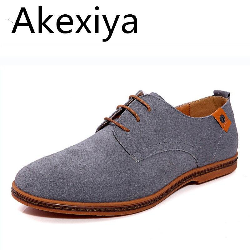 Akexiya Moda Hombres Zapatos Casuales de Cuero De Gamuza Plana Zapatos con cordo