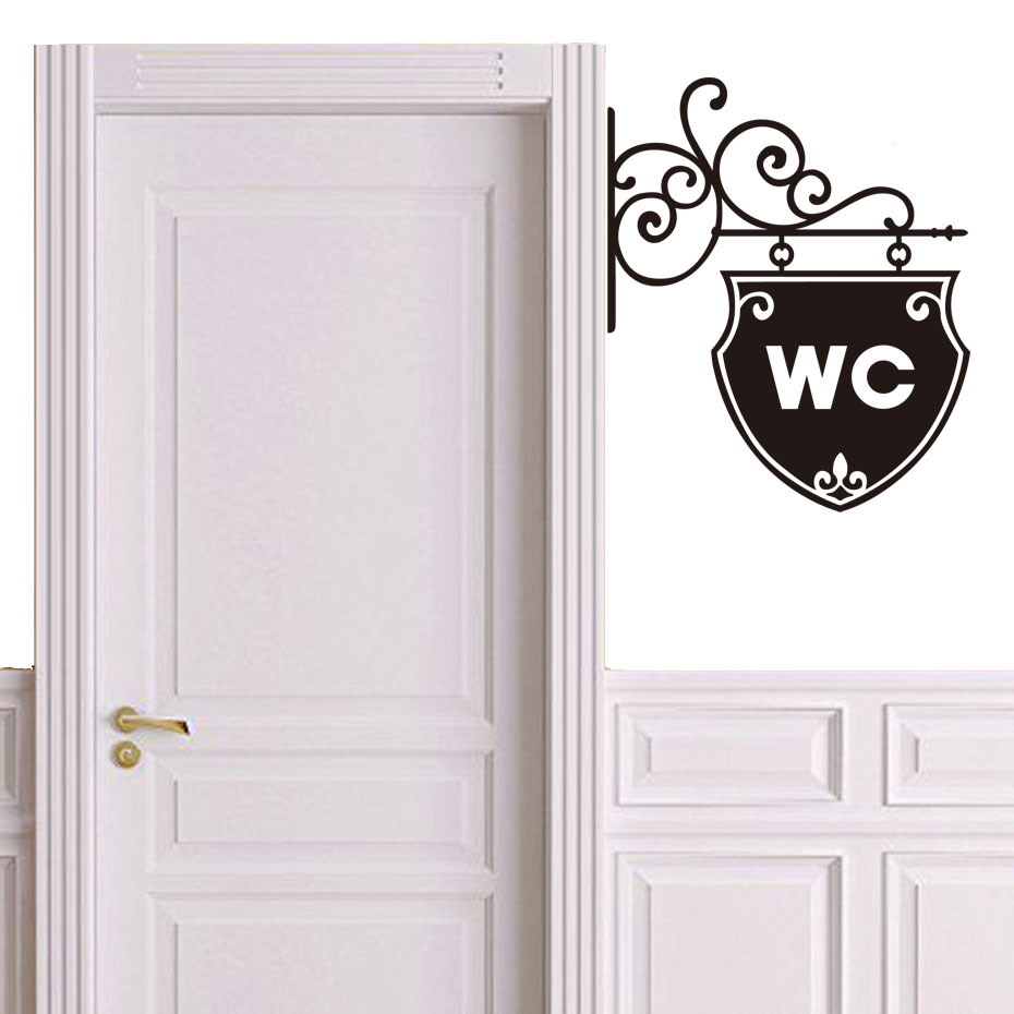 Art WC Toilet Door Sticker Home Decoration Decal Removable Self Adhesive Wallpaper Home Decoration Wall Stickers Art Murals
