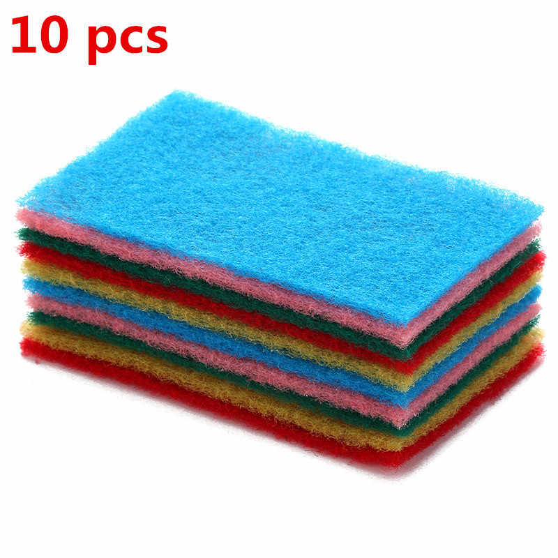 Sponges & Scouring Pads 10pcs Color sponge scouring pad kitchen dishwashing pot strong decontamination oil rag cloth bowl  clean