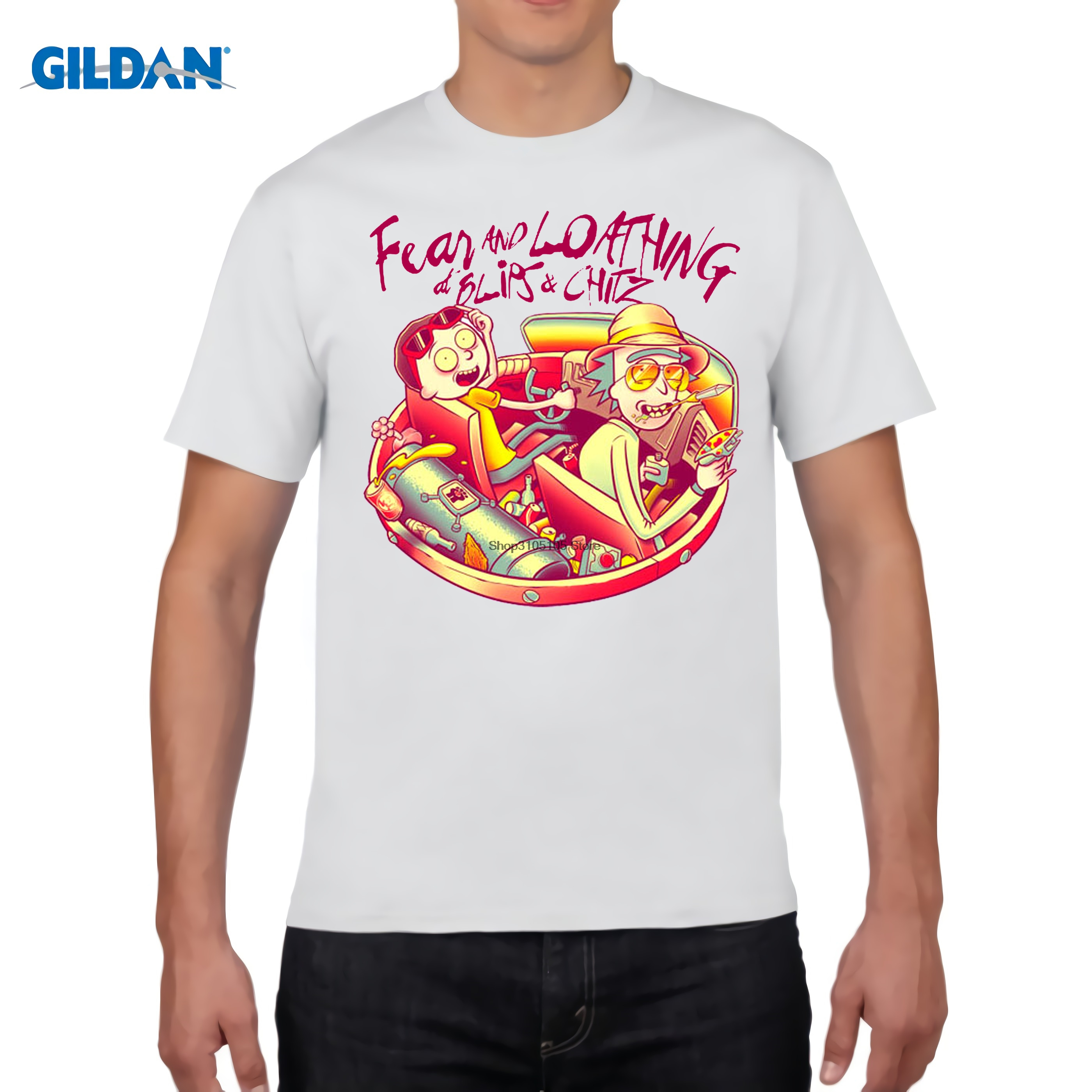 Ri And Morty Fear & Loading At Blips & Chitz T-shirt Schwift Las Vegas Tee E17 Free Shipping Harajuku Tops T Shirt Fashion T-shirts Men's Clothing