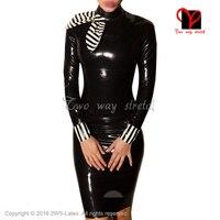 Sexy Latex Dress With Stripes Bows Rubber Playsuit Bodycon plus size XXXL QZ 126