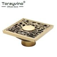 Torayvino Good Quality Luxury Design Bathroom Antique Brass Floor Drain Shower Drainer Kitchen Waste Drain Bathroom