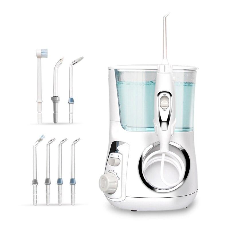 New Water Flosser Dental Oral Irrigator 7 Jet Tips Electric Teeth Cleaner 800mL Contertop Dental Flosser for Home Water Pick