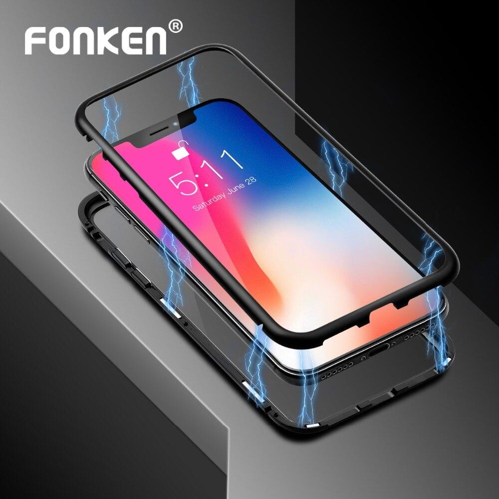 FONKEN Magnétique Téléphone Cas pour iPhone 6 6 s Plus 7 8 Plus X XS MAX XR Transparent Aimant Cas ultra mince Équipée Cas pour Mobile