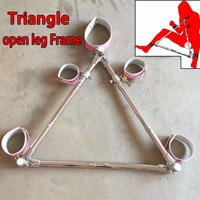 Triangle Stainless Steel Open Leg Frame Bondage Restraints Neck Collar Hand Ankle Cuffs Slave BDSM Fetish Sex Toys For Couples