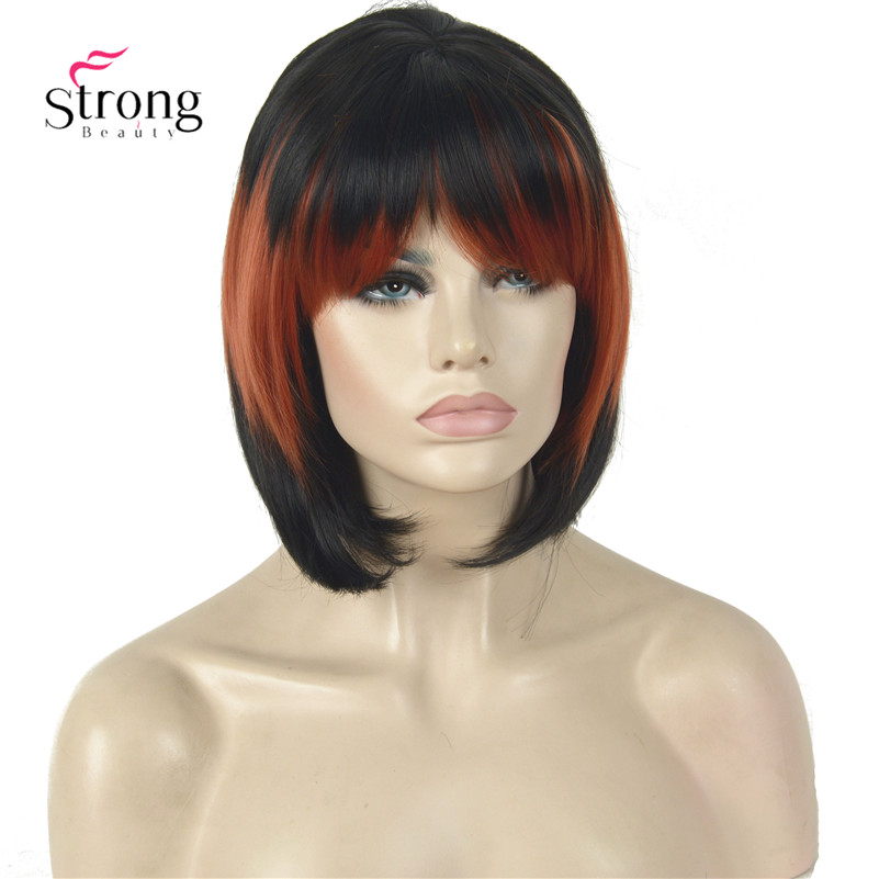 Short Black Red Mix color Part with Bangs Full Synthetic Wig