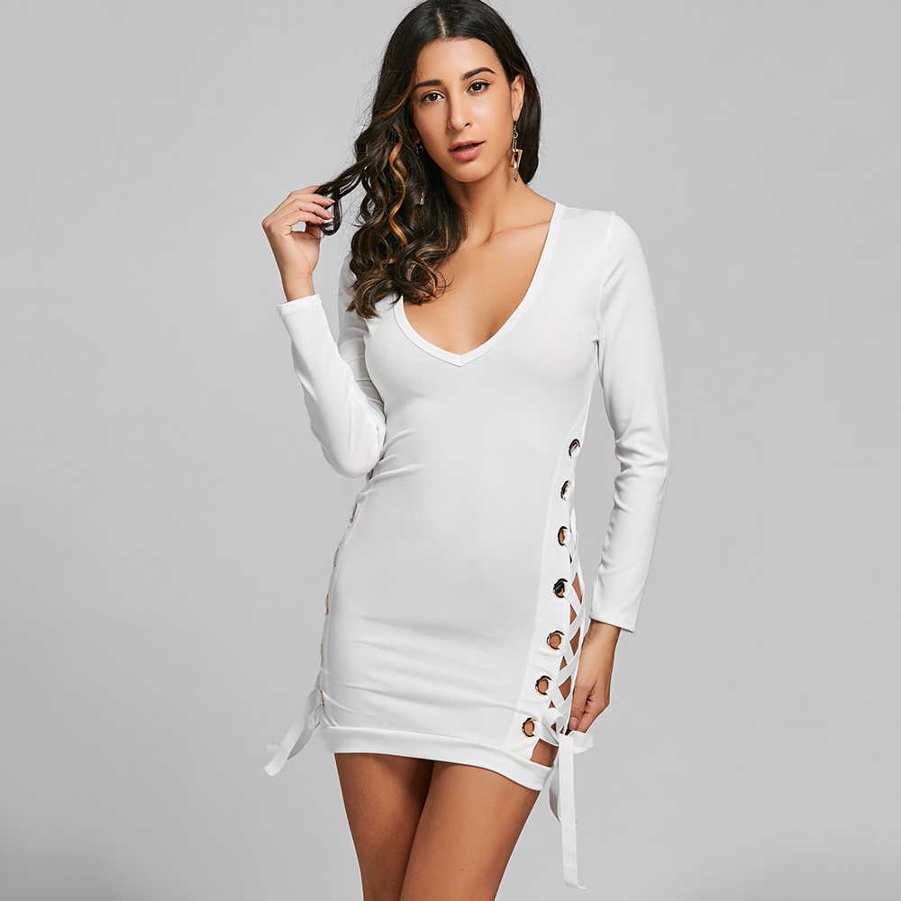 b6cc8457ec012 Gamiss Women Sexy Club Dresses Lace Up Plunging Neckline Mini Bodycon Dress  Ladies Casual Long Sleeves Dress Vestidos De Festa