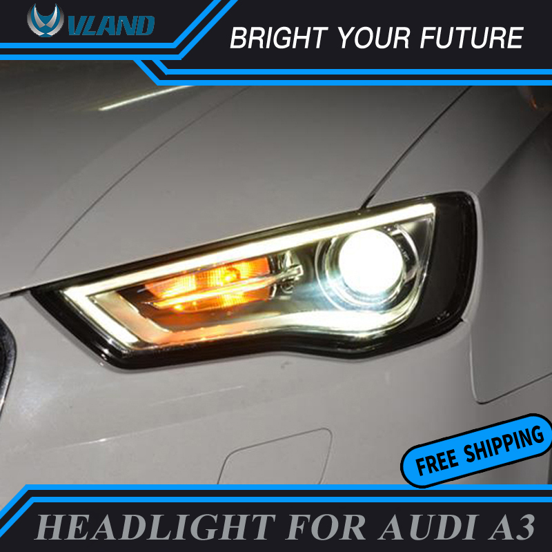 Car Styling For Audi A3 Headlights 2014 2016 Headlamp DRL High Beam