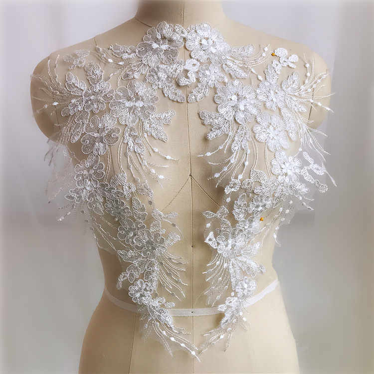 Embroidery Car Bone Lace Flowers Sequins Applique Bridal Accessories Diy Materials Finished Flower Patch Wedding Dress Applique Lace Aliexpress