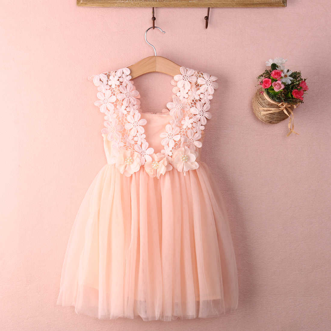 d6de5e06e ... Elegant Feast Baby Girls Solid Lovely Cute Sleeveless Princess Lace  Flower Tulle Tutu Gown Formal Party ...