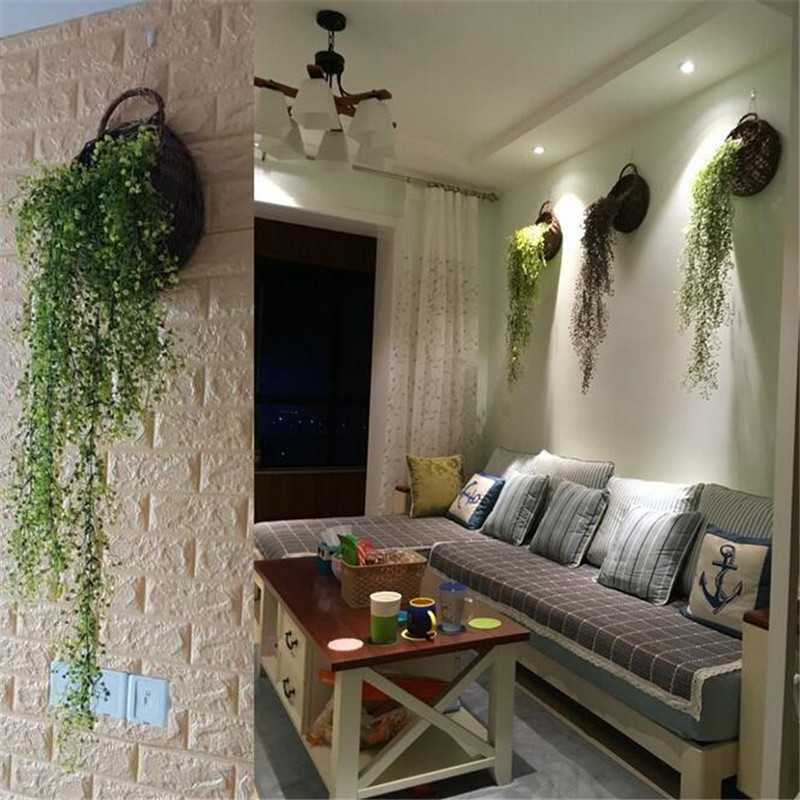 2017 New Suspended Rattan Basket Simulation Plant Flower Decorations Fake  Flower Basket Living Room Decoration Wall Decorations In Artificial U0026 Dried  ...