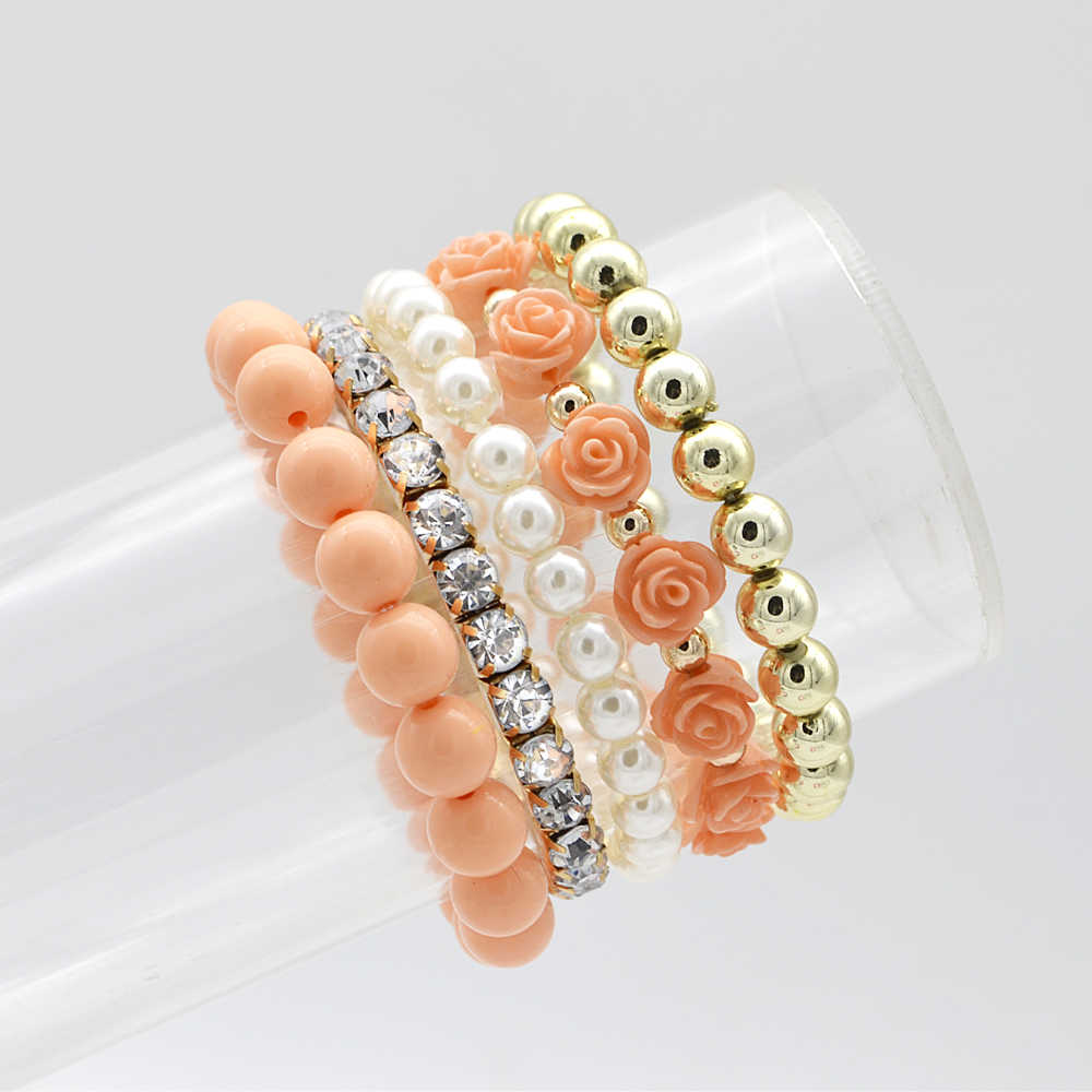 5 pcs/set Bohemian Simple Style Women Bracelet Cute Rose Flower Imitation Pearl Beads Bracelet & Bangles Handmade DIY Jewelry