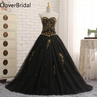 Black Quinceanera Dresses Tulle With Gold Embroidery Beaded Sweet 16 Dresses Puffy Ball Gown Vestido De