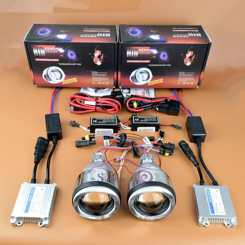 Motorcycle Angel Eyes Halo HID Bi xenon Projector font b Light b font Lens Headlights Kit