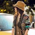 Moda Sombreros de Las Mujeres Del Verano de Las Muchachas Colorido Sun de la Paja Sombreros de Playa Del Sombrero Del Jazz Sombreros Para Las Mujeres Chapeau De Paille Femme