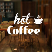 Coffee Shop Window Sign Decal, Hot Door Sticker, Window/Shop/Coffee Decoration 3W06