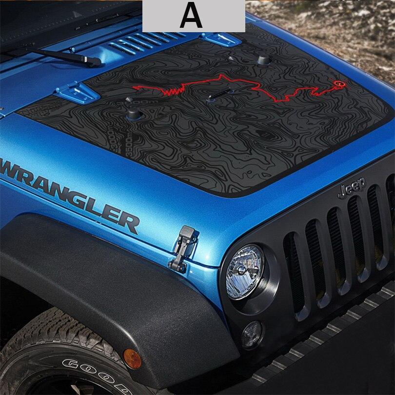 Capot moteur noir mat grande carte étoile crâne autocollant vinyle pour Jeep Wrangler illimité TJ JK - 2