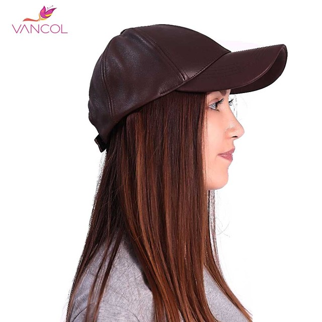 Vancol 2016 New Unisex Women Sport Bones Mens Casquette Snapback Summer Black Brown Pu Leather Adjustable Baseball Leather Cap