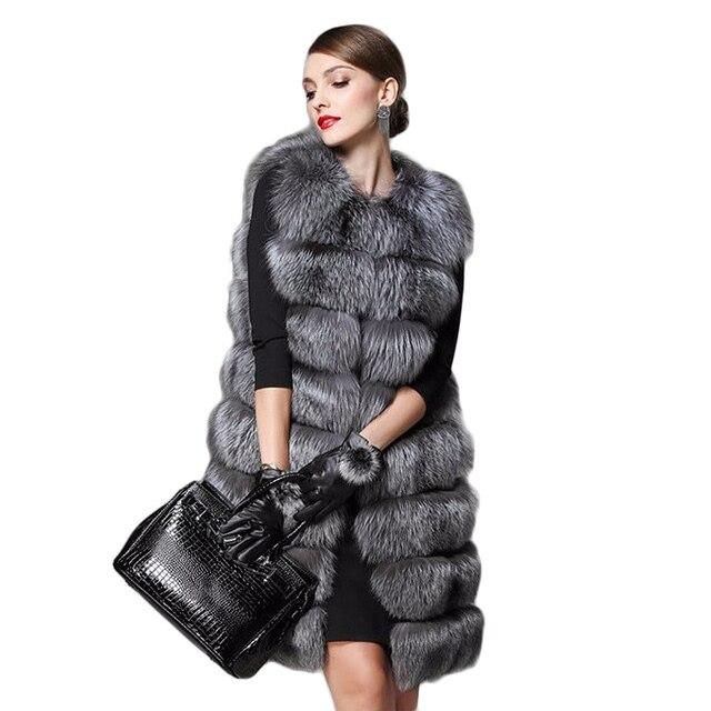 2016 новый искусственный мех пальто женщин меховой жилет чернобурки волосы Colete Feminino удлинить плюс размер зима женщины