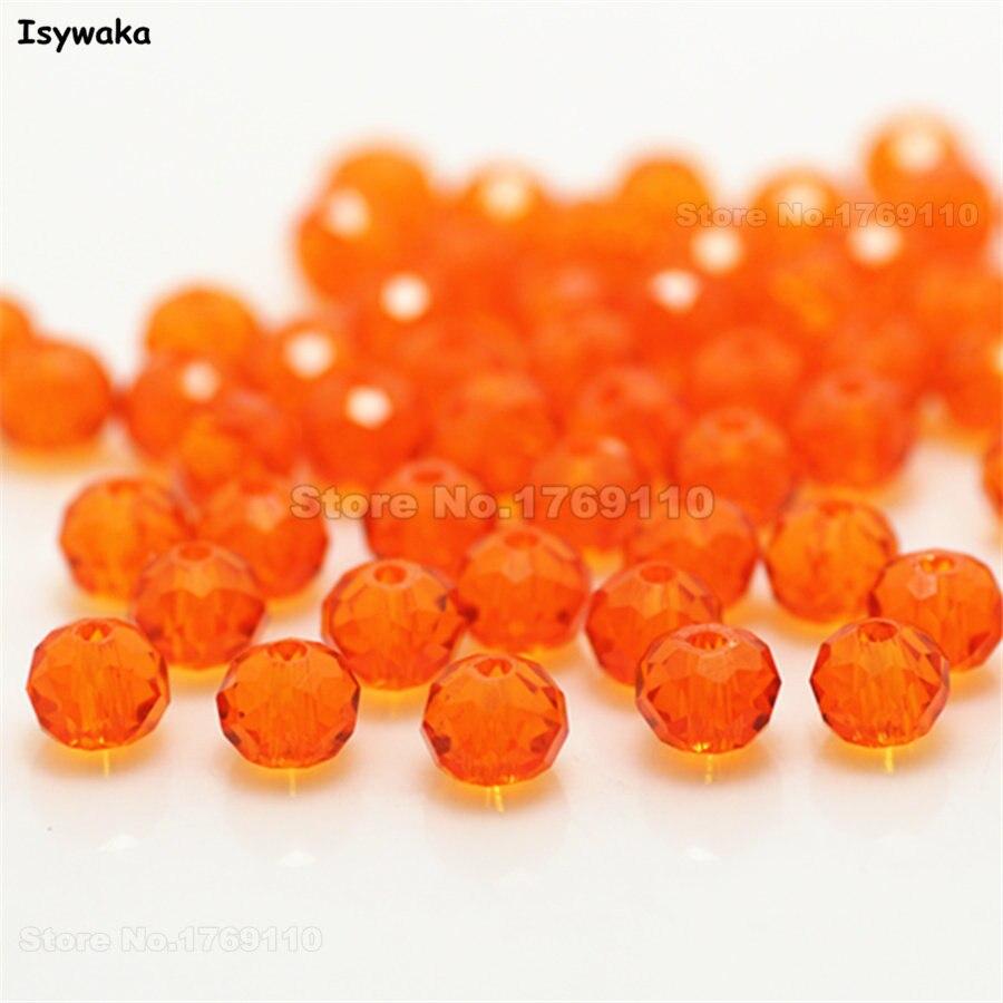Isywaka разноцветные 4*6 мм 50 шт Австрийские граненые стеклянные бусины Rondelle, круглые бусины для изготовления ювелирных изделий - Цвет: Orange