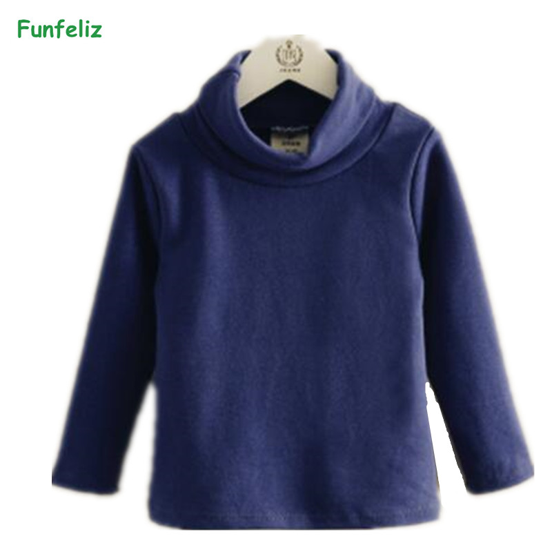 Funfeliz Autumn Winter Children Sweater 8 Colors Turtleneck Sweater for Boys Toddler Girls Cardigan Boys Pullover 3-10 years