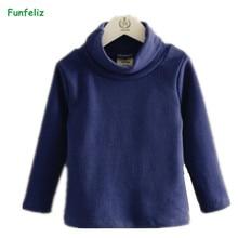 Funfeliz Autumn Winter Children Sweater 8 Colors Turtleneck for Boys Toddler Girls Cardigan Pullover 3-10 years