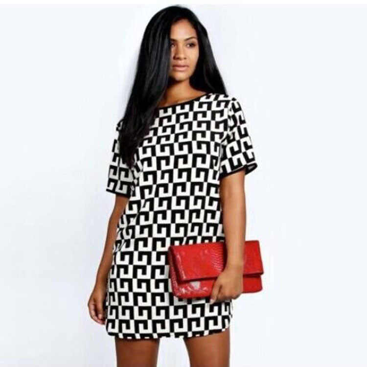 Charmed geometry Printing Round Neck Short Sleeve Chiffon Dress Black And White Lattice Office Formal Work Dress Robe Femmeq**