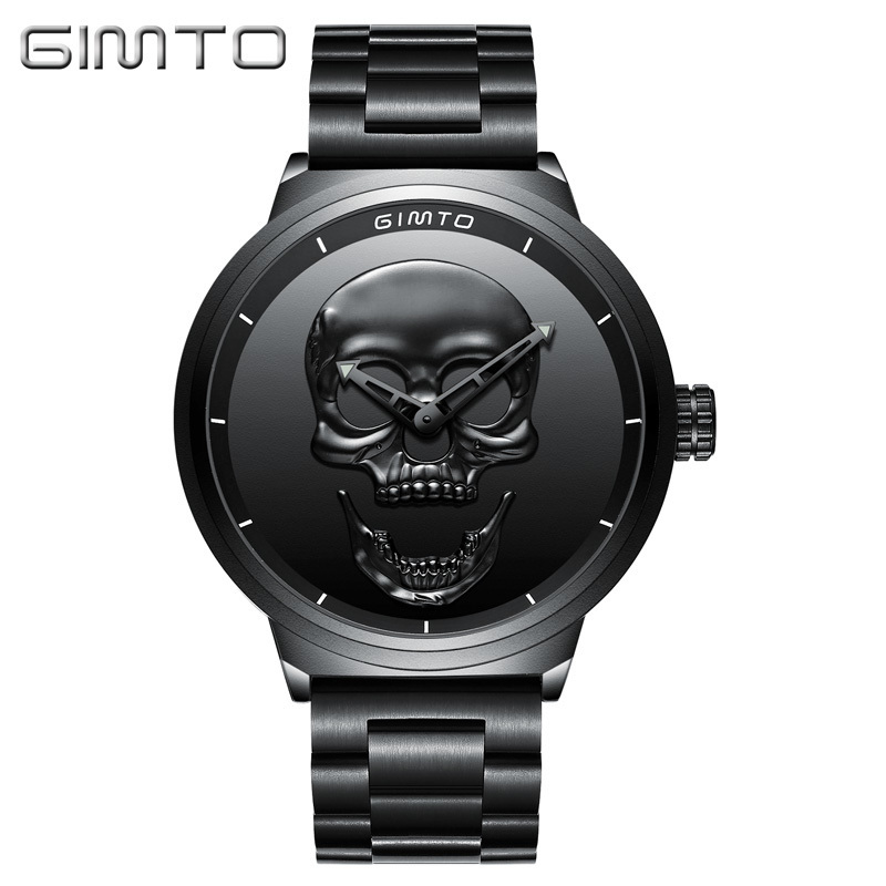 GIMTO NEW Skull Men Watches 2017 Luxury Brand Creative Watches Men Steel Quartz Watch Black Boys Military Sport Wrist Watches protective outdoor war game military skull half face shield mask black