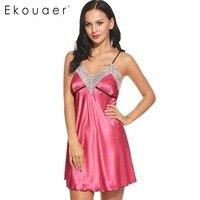 Ekouaer נשים Nightwear הלבשת סקסית V צוואר סאטן כתונת לילה כתנות הלילה Babydoll כותנות לילה טרקלין טלאי תחרה גודל Sml XL