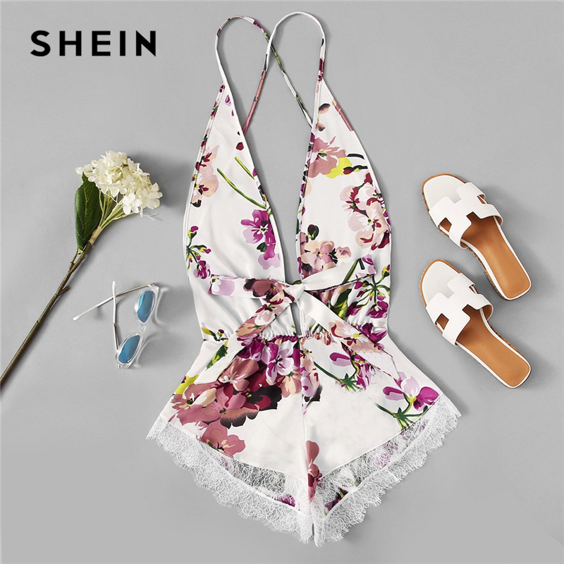 SHEIN Open Back Eyelash Contrast Lace Trim Hem Teddy Romper Bodysuit Sexy Criss Cross Teddies Satin Women Onesies Sleepwear(China)
