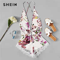 SHEIN Open Back Eyelash Contrast Lace Trim Hem Teddy Romper Bodysuit Sexy Criss Cross Teddies Satin Women Onesies Sleepwear